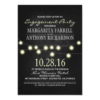 Romantic string lights chalkboard engagement party 13 cm x 18 cm invitation card