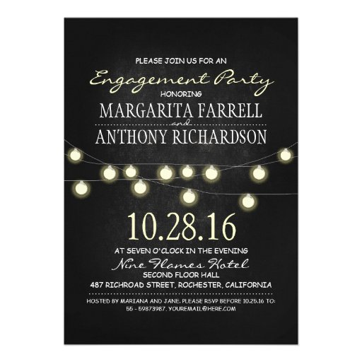 Romantic string lights chalkboard engagement party invitation