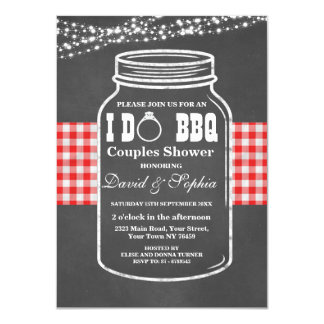 Romantic String Lights I DO BBQ Mason Jar Invite