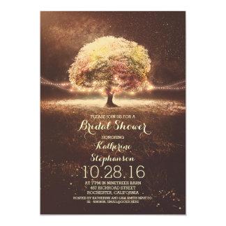 "romantic string lights tree fall bridal shower 5"" x 7"" invitation card"