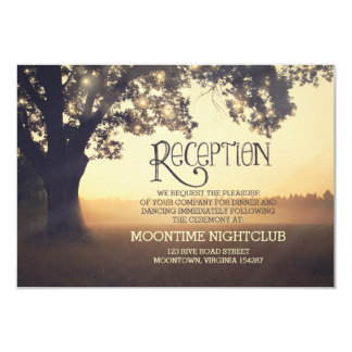romantic string lights tree wedding reception card