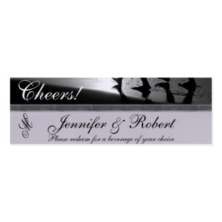Romantic Stroll Monogram in Silver Grey and Black Double-Sided Mini Business Cards (Pack Of 20)