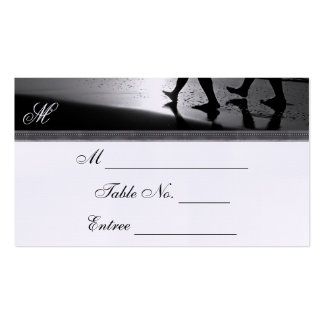 Romantic Stroll Monogram in Silver Grey and Black Business Card