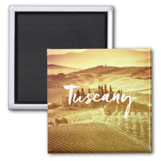 Romantic sunny tuscany Italy brush typography Square Magnet