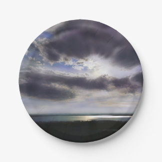 Romantic sunset over the lake paper plate