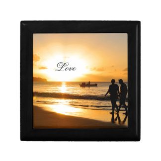 Romantic sunset small square gift box