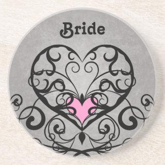 Romantic swirls and hearts wedding drink coaster