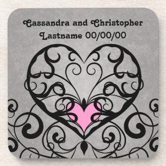 Romantic swirls and hearts wedding beverage coasters