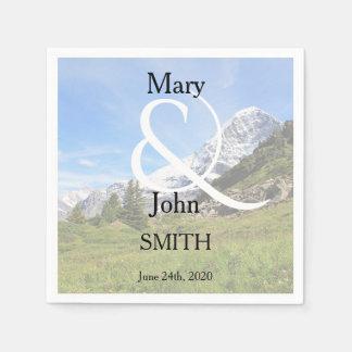 Romantic Switzerland mountain country wedding Paper Serviettes