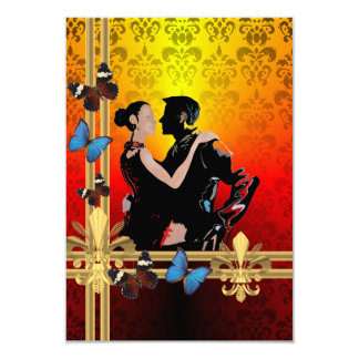 Romantic tango dancers on damask card