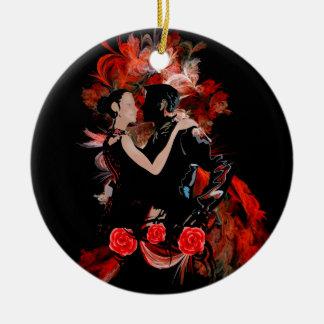 Romantic tango dancers on red fractal round ceramic decoration