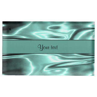 Romantic Teal Satin Table Card Holders