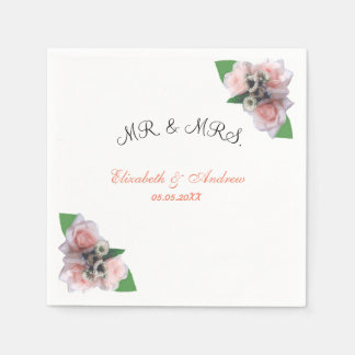 Romantic three pink roses floral chic Napkin Disposable Napkin