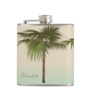 Romantic Tropical Palm Tree -Personalized Flasks