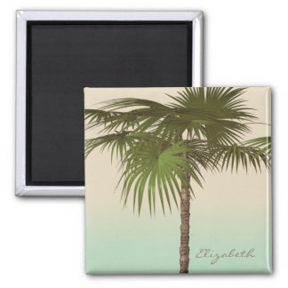 Romantic Tropical Palm Tree -Personalized Magnet