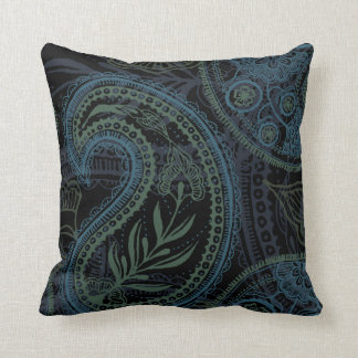 Romantic Turquoise, Blue & Green Paisley Cushion