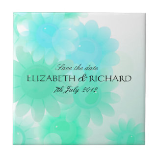 Romantic turquoise floral Save the date Tile