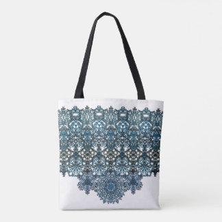 romantic turquoise ornament arabesque tote bag