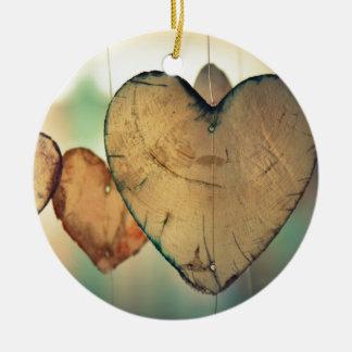 Romantic Valentine day love hearts Round Ceramic Decoration
