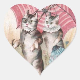 Romantic Victorian Cats Scrapbook Sticker