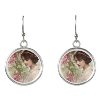 Romantic Victorian Woman Pink Floral Earrings
