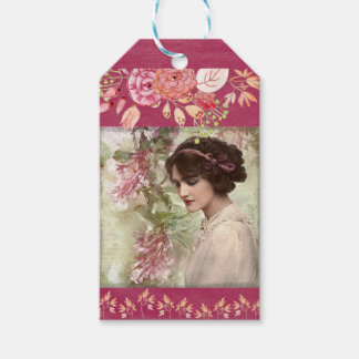 Romantic Victorian Woman Pink Floral Gift Tags