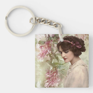 Romantic Victorian Woman Pink Floral Keychain