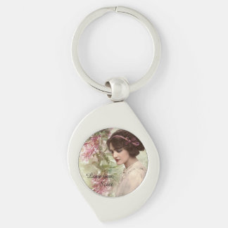Romantic Victorian Woman Pink Floral Keychain Silver-Colored Swirl Key Ring