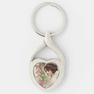 Romantic Victorian Woman Pink Floral Keychain Silver-Colored Twisted Heart Key Ring