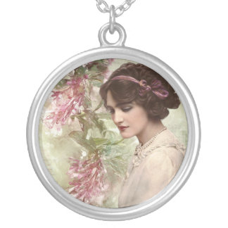 Romantic Victorian Woman Pink Floral RoundNecklace Silver Plated Necklace