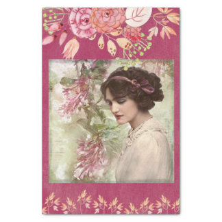 """Romantic Victorian Woman Pink Floral Tissue Paper 10"""" X 15"""" Tissue Paper"""