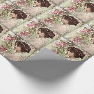 Romantic Victorian Woman Pink Floral WrappingPaper