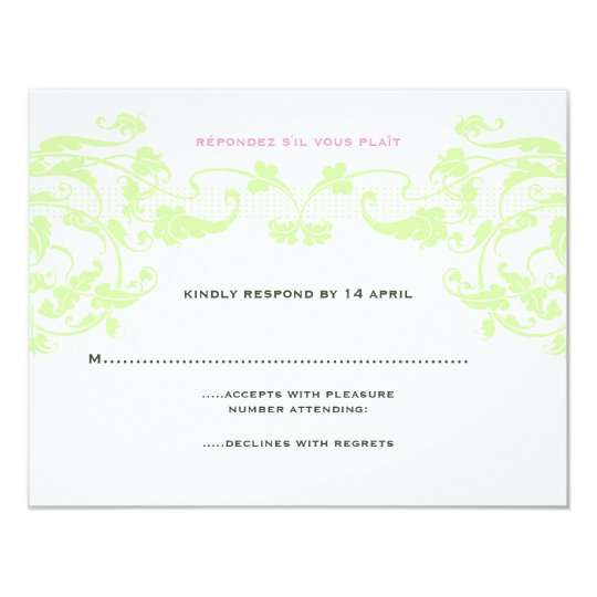 Romantic Vines Wedding RSVP in Pink and Green Card