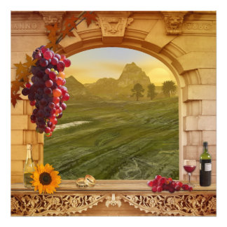 Romantic Vineyard (Wedding) Vintage Painting Photographic Print