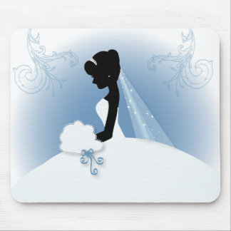 romantic vintage bride silhouette bridal shower mouse pad