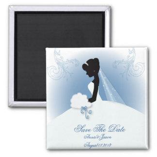 romantic vintage bride silhouette bridal shower square magnet