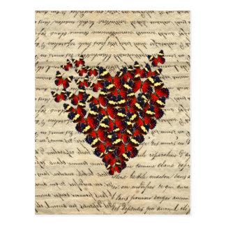 Romantic Vintage butterfly heart Postcard