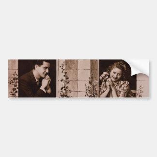 Romantic Vintage Couple Sepia Photograph Bumper Stickers