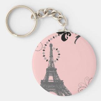 Romantic Vintage eiffel tower Paris Wedding Basic Round Button Key Ring