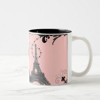 Romantic Vintage eiffel tower Paris Wedding Two-Tone Coffee Mug