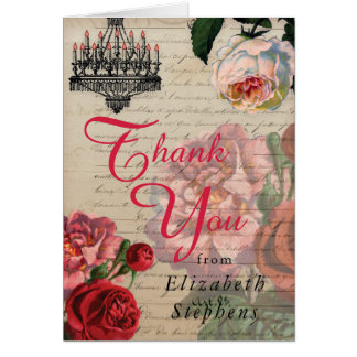 Romantic Vintage Ephemera Floral Thank You Card
