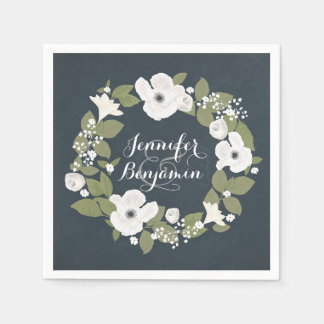 Romantic vintage floral wreath wedding napkins disposable serviettes