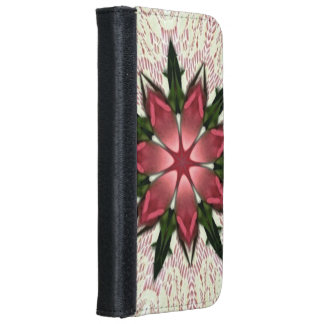 Romantic Vintage Lace Pink Rose Kaleidoscope iPhone 6 Wallet Case