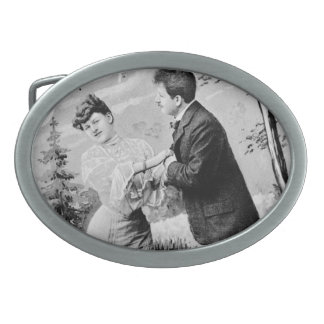 Romantic vintage lovers on a boat oval belt buckle