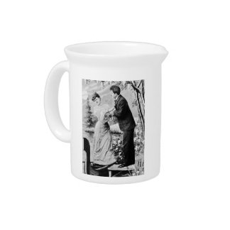 Romantic vintage lovers on a boat pitcher