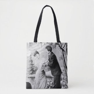 Romantic vintage lovers on a boat tote bag