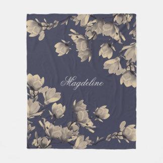 Romantic Vintage Magnolias Fleece Blanket