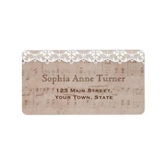 Romantic Vintage Music Sheet & Lace Wedding Label