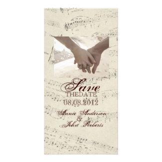 romantic Vintage musicnotes modern saveTheDate Photo Greeting Card
