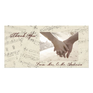 romantic Vintage musicnotes modern wedding Personalized Photo Card